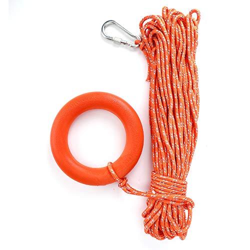 HERCHR Cuerda Flotante de Anclaje para Amarre, 30 M/6 MM Cuerda Flotante, Cuerda Flotante Al Aire Libre del Salvavidas del Rescate del Agua de Lifeline con el Anillo