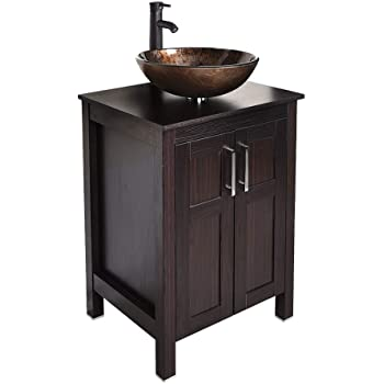 24 inch Bathroom Vanity Set - Combo MDF Sink Cabinet Vanity with Counter Top Glass Vessel Sink Vanity and 1.5 GPM Faucet (Free pop up Drain)