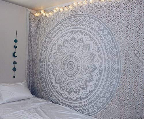 QCWN Indian Mandala Wall Hanging Tapestry Silver Ombre Tapestry Hippie Bohemian Grey Mandala Wall Hanging Tapestry Aesthetic Tapestry Psychedelic Trippy Tapestry for Bedroom Home Decor.82x59Inch