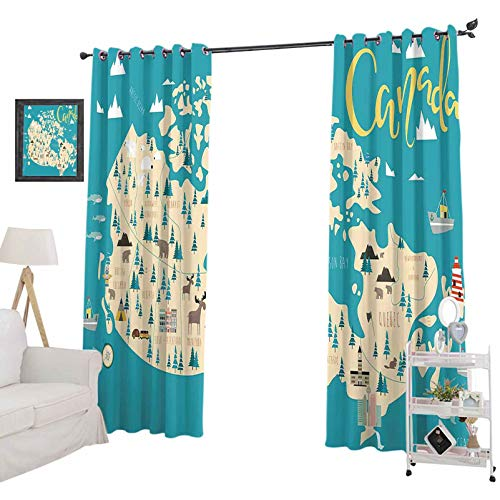 """Curtains Illustrated map of Canada 52"""" x 72"""" Blackout Curtains for Kids Bedroom"""