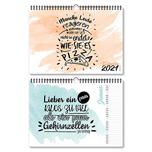 Wandkalender 2021 Sprüchekalender witzig DIN A4 297x210 mm quer- Aquarell Sprüche