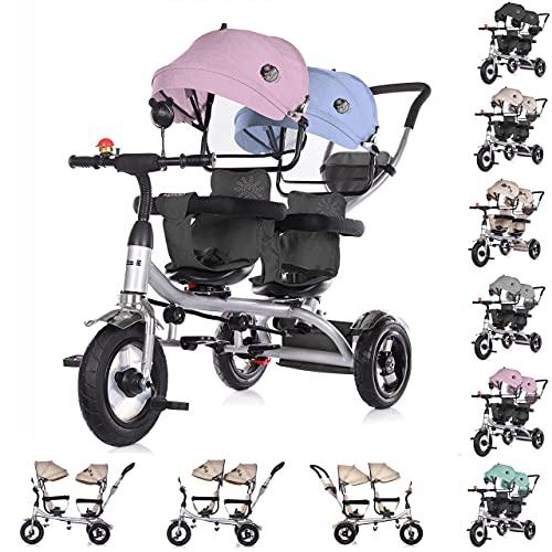 Chipolino Tricycle Dreirad 2Play Zwei Kinder bis 50 kg Luftreifen Lenkstange , Farbe:Boy Girl