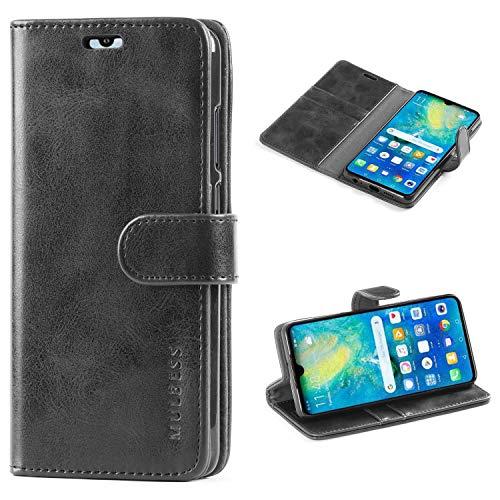 Mulbess Handyhülle für Huawei P30 Hülle, Leder Flip Hülle Schutzhülle für Huawei P30 Tasche, Schwarz