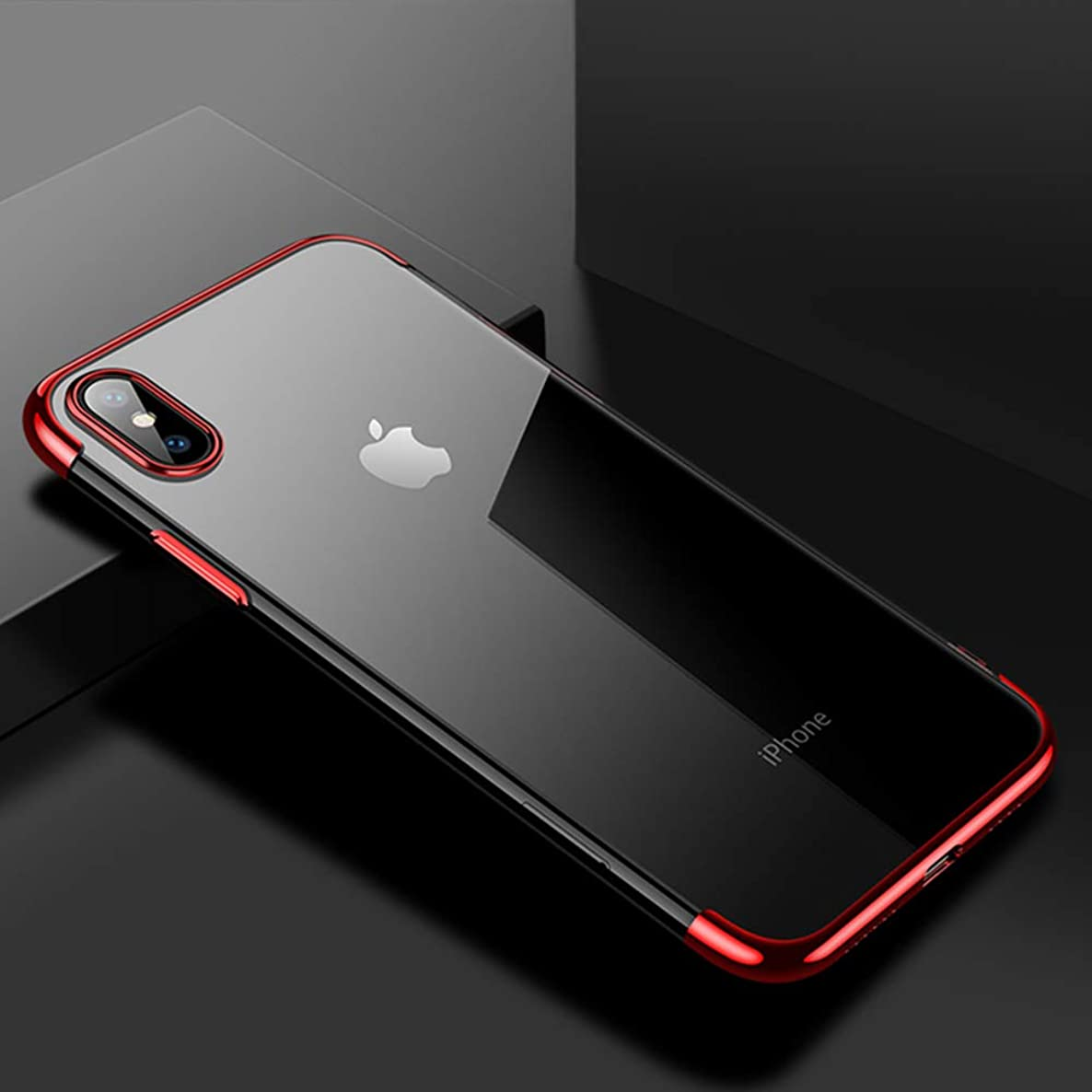 CAFELE soft TPU case for iPhone X Xs Max cases ultra thin transparent plating shining case for iPhone Xs Mixed silicon cover (Red)