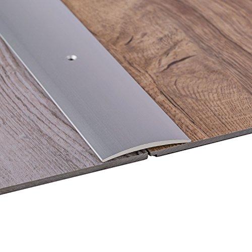 Gedotec Übergangsprofil Laminat - Vinyl Übergangs-Schiene gelocht Bodenprofil gewölbt | Türschwelle zum Schrauben | Alu Silber eloxiert | Profil 50 x 1000 mm | 1 Stück - Ausgleichsprofil Aluminium
