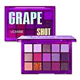 UCANBE Bright Neon Eyeshadow Makeup Palette-15 Shades High Pigmented Purple Blue Yellow Shimmer Matte Glitter Metallic Eyes Shadow Colorful Vibrant Creamy Make Up Pallets Kit (Grape Shot)
