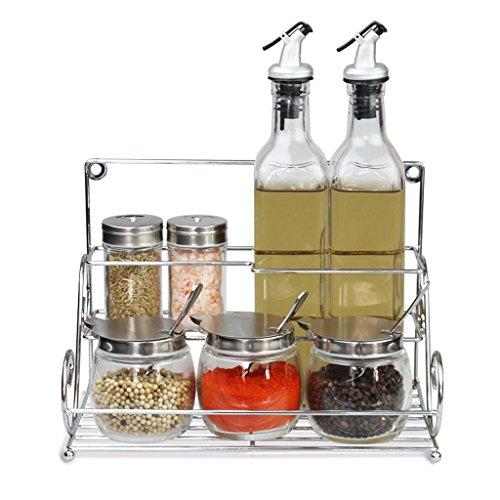 Dosificadores de aliño y especias LIUBING Set de caja de condimentos Botella de condimento de vidrio Recipiente de condimento Botella de aceite Sello de vinagre Artículos de cocina (Diseño : D)