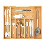 Bamboo Expandable Drawer Organizer for Kitchen Utensils ,Multifunctional Silverware Organizer/Flatware Drawer Organizer and Cutlery Tray for Silverware, Flatware, Knives .etc( 9 Slots ,Natural)