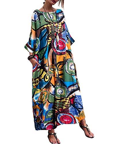 Kidsform Robe Maxi Femme Imprimé Col Rond Robe Longue Boheme Fleurie à Manche Chauve-Souris Casual Coton Lin Automn B-Vert XL