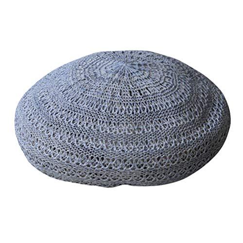 Amosfun Sombrero de paja para el sol, para verano, para la playa, para mujer, niña, de ganchillo, hueco, de punto, para primavera, hecho a mano, boina francesa