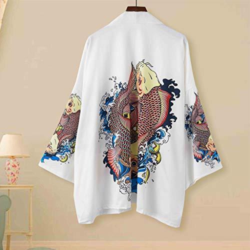 Yowablo Tops Paar Retro Robe ethnischen Print Kurzarm Shirt Mantel (M,6Mehrfarbig)