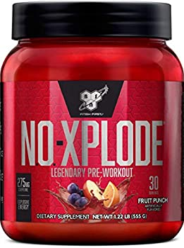 BSN N.O.-XPLODE Pre Workout Powder Energy Supplement for Men and Women with Creatine and Beta-Alanine Flavor  Fruit Punch 30 Servings