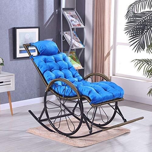 BLSTY 8 cm met kussen, verdikte stoelkussen, EPE-schuim, verstelbare riem, ademend comfort, zitkussen, ruststoel, schommelstoel, tuinstoel, rugkussen 48x125Cm(19x49Zoll) blauw