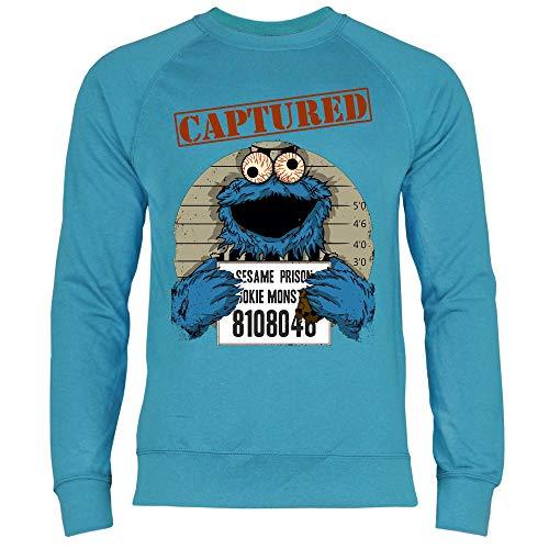 wowshirt Sudadera Halloween Cookie Wanted Terror del Monstruo de la Galleta para Hombre, Tamaño:S, Color:Azure Blue