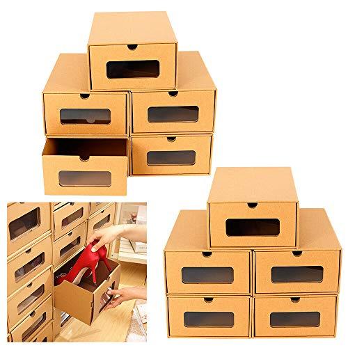 MINUS ONE Aufbewahrungsbox mit Sichtfenster Stapelbar Schuhaufbewahrung Storagebox Schuhbox Schuhkarton Schuhschachtel Allzweckbox Schublade Pappe aus Kraftpapier (10 pcs)