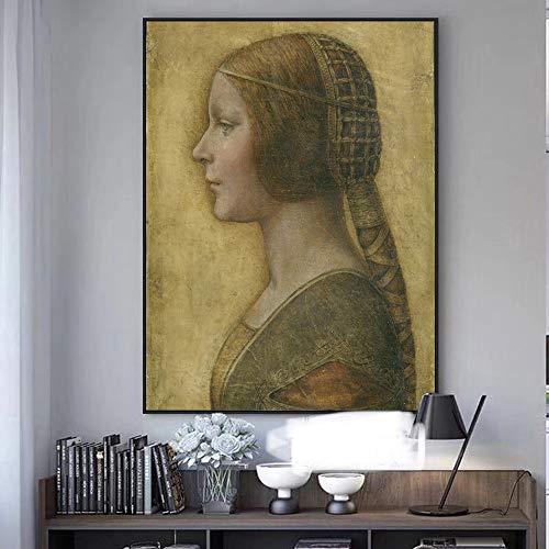 La Bella Principessa Pinturas de lona de Leonardo da Vinci Famoso Arte de la pared Lienzo Impresiones reproducciones, para la decoración de la sala de estar sin marco (Size : 60X80cm no frame)