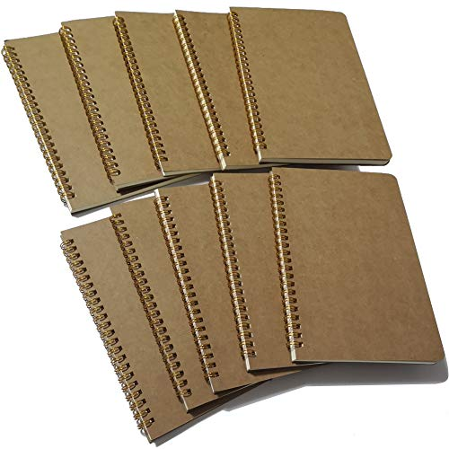 Softcover Spiral Notebook/Spiral Journal, 50 Sheets (100 Pages) Dot Grid Notebook, 10 Notebooks Per Pack, A5, 8.5