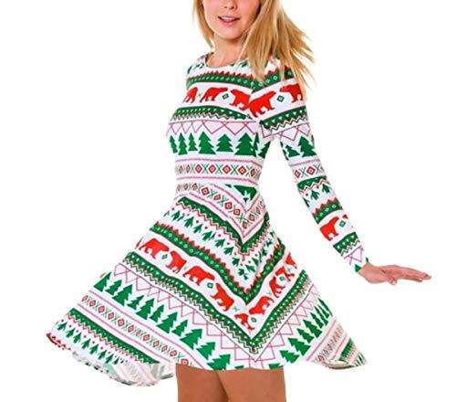NANXCYR Dames Kerst Tuniek Jurk Lange Mouw Santa Xmas Gifts Print Flared Swing Jurk Casual Crew Neck A-lijn Jurken