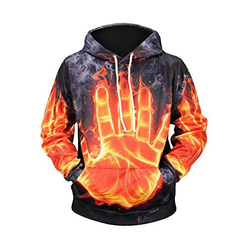 Bealeuy 3D Männer Kapuzenpullover Sweatshirt Flamme Muster Hoodie Neuheit Pullover für Herren Damen Unisex Sweatshirt Pullover Baumwolle Volle Großer