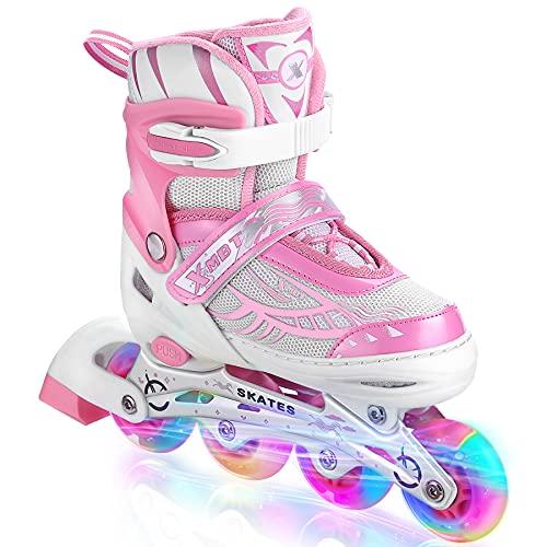 Hikole Inline Skates für Mädchen Frauen, verstellbare Rollschuhe mit Allen leuchtenden Rädern Inline Skates Klingen für Kinder Teenager Jungen Männer
