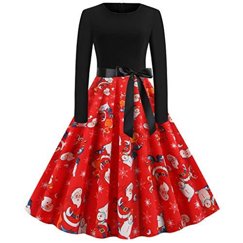 Damen Vintage Weihnachtskleider Freizeitkleid Partykleid Cocktailkleid Weihnachtsmuster Langarm Casual 1950er Jahre Hausfrau Rundhals Prom Festival Karneval Kostüm Abendkleid Swing Dress Rot XL