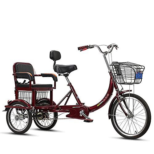 Adult Tricycle Pedal Man-Powered Bicycle 16-Inch Cruiser Tricycle with Backrest Seat for Two Persons Cushioning 3-Wheel Bicycle with Shopping Basket