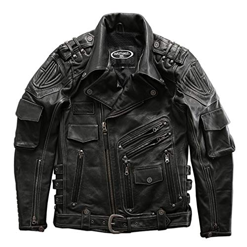Sijux Giacca da Uomo in Pelle di Vacchetta da Moto Punk in Pelle Cappotto Caldo da Lavoro Vintage Cappotto Casual da Pilota Capispalla,Nero,XXXXL