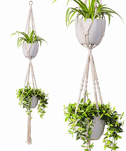 TIMEYARD 2 Tier Macrame Plant Hanger by TimeYard - Handmade Double Indoor Hanging Planter Pot Holder - Modern Boho Home Decor - 1 PCS Ceiling Hook
