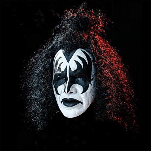 Máscara De Demonio Kiss-Gene Simmons con Pelucas Que Se Pueden Tejer Libremente 70S Rock Band Cosplay Disfraz De Halloween Máscara De Cabeza De Látex Festival Fiesta Mascarada Carnaval,A