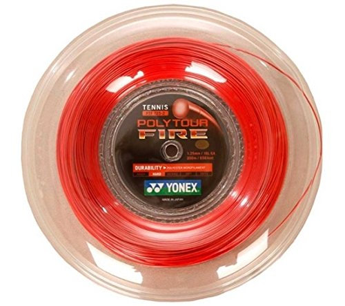 YONEX POLYTOUR FIRE 125 200m / Tennis String / advancing players / more powerful spin / Fire off fast shots / dominating the court.