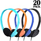 CN-Outlet Classroom Headphones for Kids in Bulk Multi Colored 20 Pack, Wholesale Over Ear Student Head Phones Perfect for Schools, Libraries, Computer Lab, Testing Centers, Museums, Hotels (20Pack)