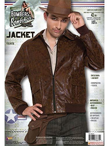 Forum Novelties Men's 40's WWII Faux Suede Costume Jacket, Brown