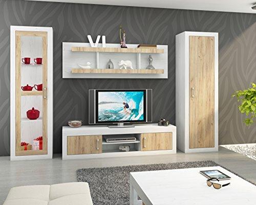 """Wohnzimmer Möbel Satz, TV Wohnwand \""""VERIN 4\"""" Große TV Bank, Freistehend Große Vitrine x 2 und Wandhängend Regal. Craft White/Craft Gold."""