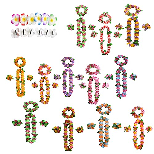 Decoraciones de Leis Hawaianos, 12 Guirnaldas de Colores Hawaianos con 12 Pulseras, 12 Diademas y 12 Horquillas, Collar de Flores Tropicales para la Playa Decoración para Fiestas de Hawaii