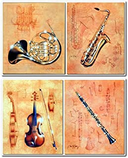 Jazz Musical Instrument - French Horn, Saxophone, Clarinet and Violin Fine Art Four Set Wall Decor Art Print Poster (8x10)