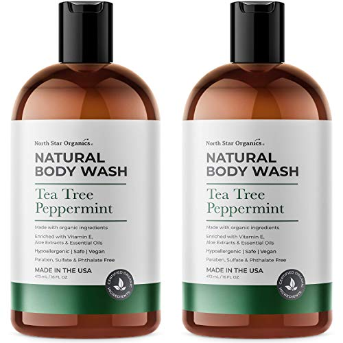 Natural Tea tree Peppermint Body Wash, Made in USA, 2X16oz, Natural Bath and Shower Gel for Men and Women, Hypoallergenic, Vegan, Paraben, Sulfate & Phthalate Free
