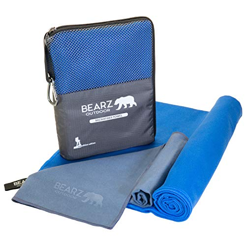 BEARZ Outdoor Microfiber Towel Set, 2 Pack Quick Dry Towel. Lightweight Travel Towel, Camping Towel. Fast Drying Gym Towel for Beach, Workout, Yoga, Backpacking (Royal Blue)