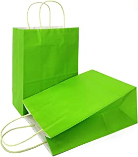 AZOWA Gift Bags Light Green Kraft Paper Bags with Handles Party Supplies Set of 12