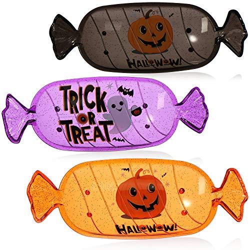com-four® 3X Tazón de Halloween - Plato de plástico con diseño de Caramelos - vajilla de Fiesta para Halloween y Fiesta con Lema