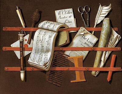Kunstdruck Letter Rack Evert Collier Briefe Feder Kamm Pinnwand Noten Zeitung B A3 01732