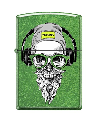 Zippo Custom Lighter Design Green Hipster Skull Head with Cap, Headphone and Glasses Windproof Collectible - Cool Cigarette Lighter Case Made in USA Limited Edition & Rare