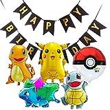 6 PCS - LOVSONG Pikachu Friends and Pokeball Balloon Happy Birthday Banner Birthday Decorations Party Balloons Kids Party Theme Decorations