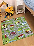 City Street Map Kids' Rug with Roads Kids Rug Play mat with School Hospital Station Bank Hotel Book Store Government Workshop Farm for Boy Girl Nursery Bedroom Playroom Classroom (39' X 39')