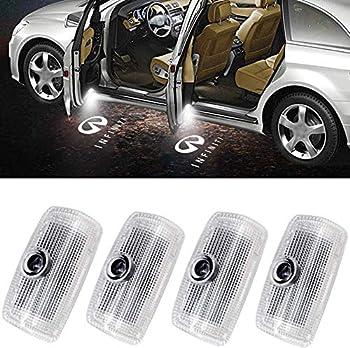 4Pcs LED Car Logo Lights Ghost Light Door Light Projector Welcome Accessories Emblem Lamp For FX37 FX50 G37 G25 Q50 Q60 M25 M35 M37 EX25 EX35 EX37 QX50 QX56 QX70 QX80 FX G M EX Compatible