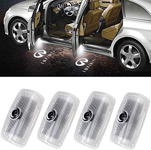 4Pcs LED Car Logo Lights Ghost Light Door Light Projector Welcome Accessories Emblem Lamp For Infiniti FX37 FX50 G37 G25 Q50 Q60 M25 M35 M37 EX25 EX35 EX37 QX50 QX56 QX70 QX80 FX G M EX Compatible