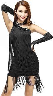 0e63f67f138 Grouptap Épaule Latine Robe de Jupe de Concours de Danse de Gland Noir pour  Femmes pour