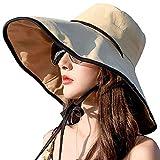 Womens Sun Hat Wide Brim UPF 50+ Summer Hat Foldable Floppy Beach Cap for Women Khaki