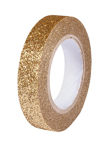 Rayher 60977616 Glitter Tape, Rolle 5 m, Breite 8 mm, washi tape Klebeband, Papierfolie, Papierband, Klebeband, Dekoband, gold