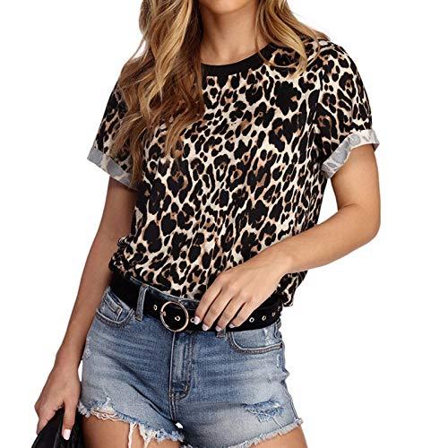 SLYZ 2021 Ladies Summer New Leopard Print Cuello Redondo Manga Corta Camiseta Corta para Mujer