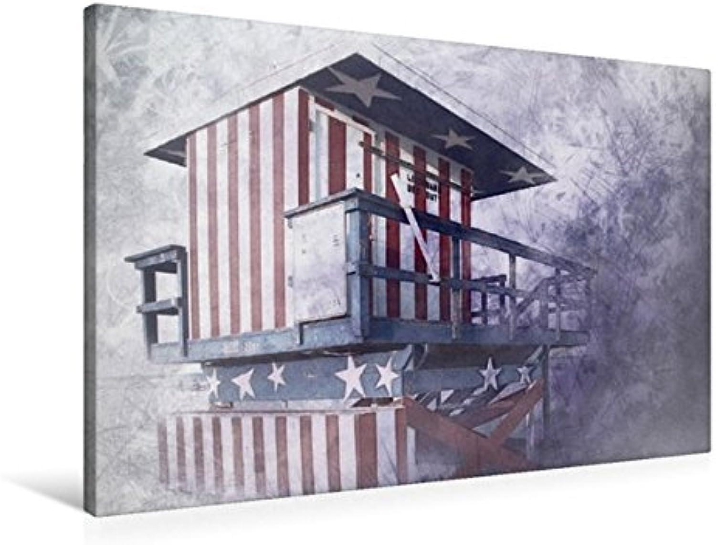 Calvendo Premium Textil-Leinwand 90 cm x 60 cm quer, Miami Beach Turm der Rettungsschwimmer   Wandbild, Bild auf Keilrahmen, Fertigbild auf echter Leinwand. Abstrakte Strandszene Kunst Kunst